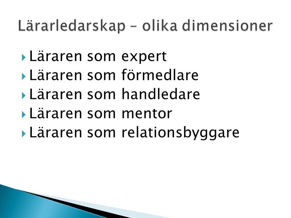  Läraren som expert  Läraren som förmedlare  Läraren som handledare  Läraren som mentor  Läraren som relationsbyggare