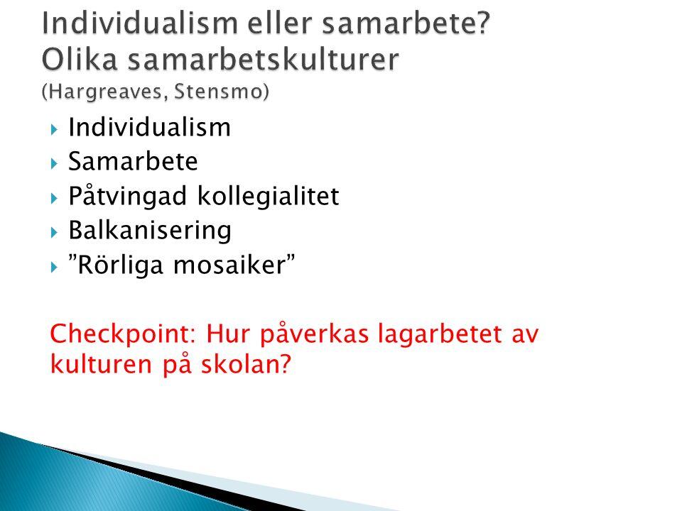 """ Individualism  Samarbete  Påtvingad kollegialitet  Balkanisering  """"Rörliga mosaiker"""" Checkpoint: Hur påverkas lagarbetet av kulturen på skolan?"""