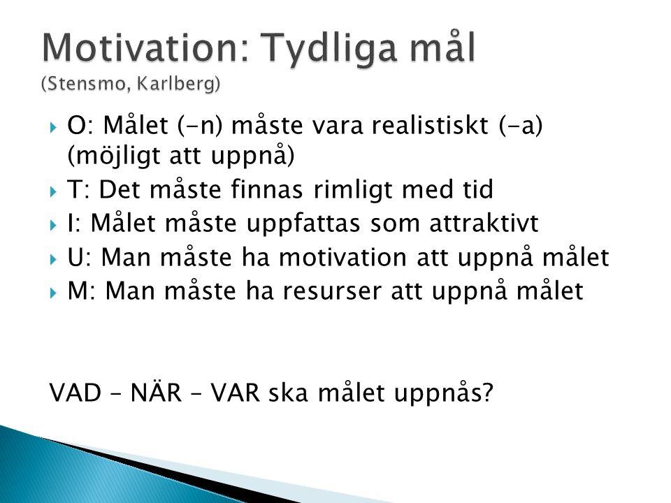  O: Målet (-n) måste vara realistiskt (-a) (möjligt att uppnå)  T: Det måste finnas rimligt med tid  I: Målet måste uppfattas som attraktivt  U: M