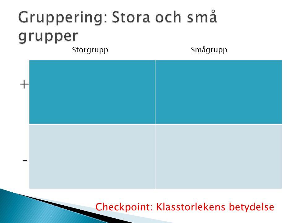 + - StorgruppSmågrupp Checkpoint: Klasstorlekens betydelse