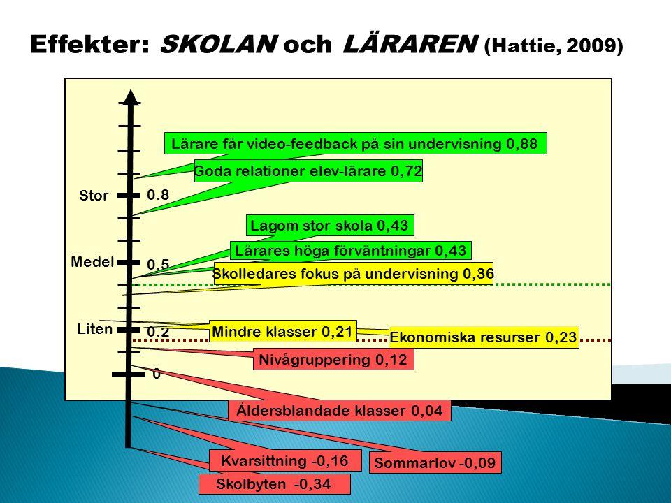 Effekter: SKOLAN och LÄRAREN (Hattie, 2009) Liten Medel Stor 0 0.2 0.5 0.8 Sommarlov -0,09 Skolbyten -0,34 Kvarsittning -0,16 Lärare får video-feedbac