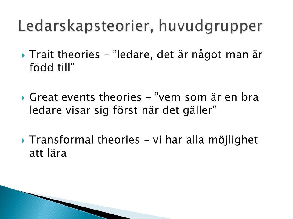  Trait theories – ledare, det är något man är född till  Great events theories – vem som är en bra ledare visar sig först när det gäller  Transformal theories – vi har alla möjlighet att lära