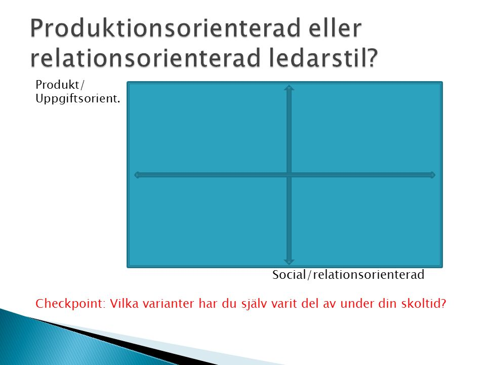 Produkt/ Uppgiftsorient. Relation/ Relation/social Social/relationsorienterad Checkpoint: Vilka varianter har du själv varit del av under din skoltid?