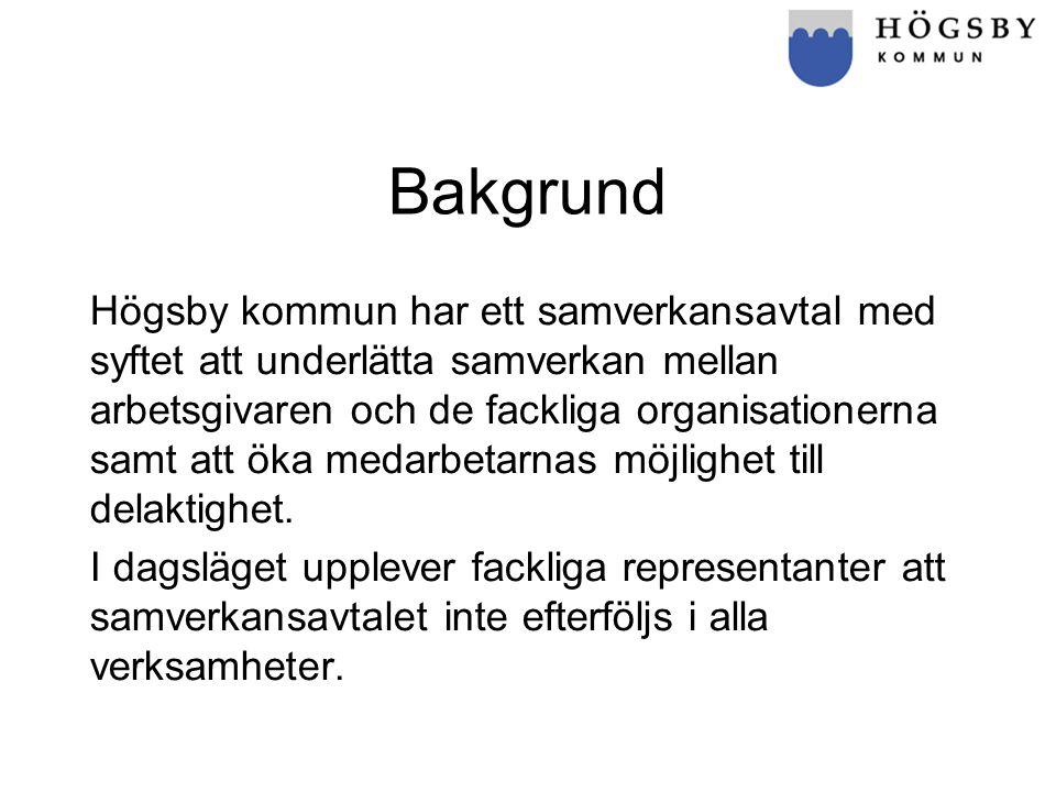 Bakgrund Högsby kommun har ett samverkansavtal med syftet att underlätta samverkan mellan arbetsgivaren och de fackliga organisationerna samt att öka medarbetarnas möjlighet till delaktighet.