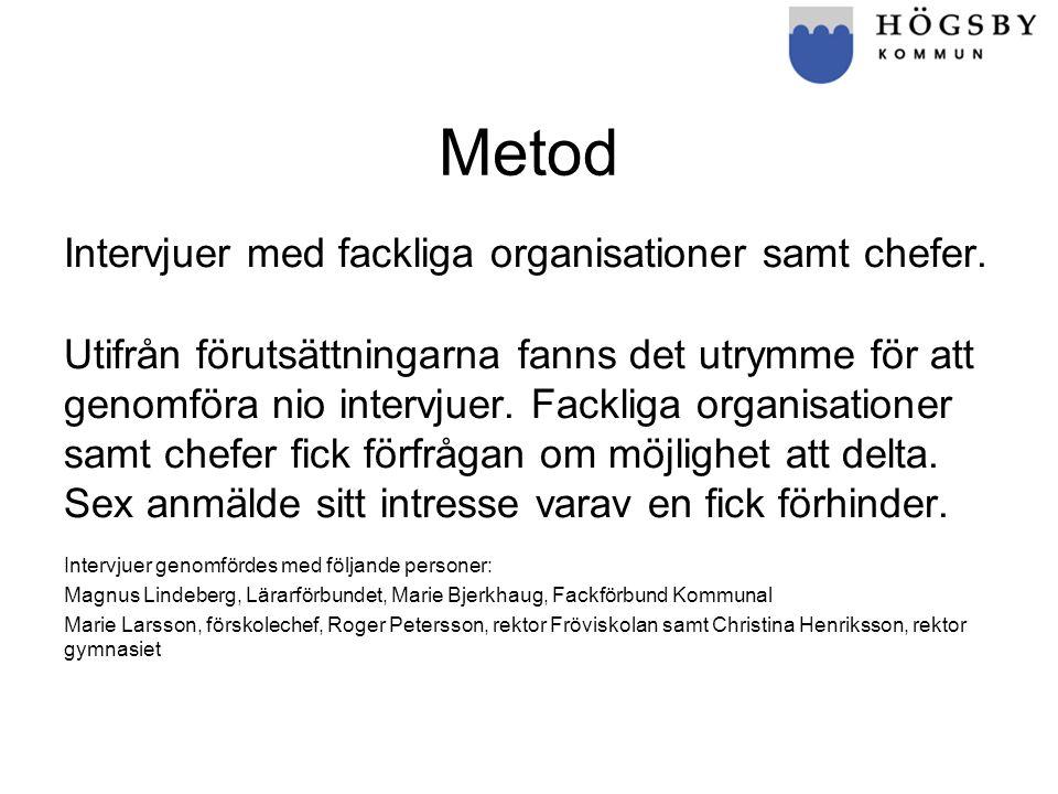 Metod Intervjuer med fackliga organisationer samt chefer.