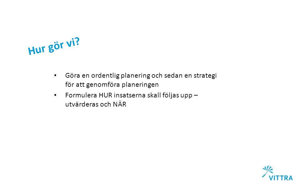Hur gör vi? Göra en ordentlig planering och sedan en strategi för att genomföra planeringen Formulera HUR insatserna skall följas upp – utvärderas och
