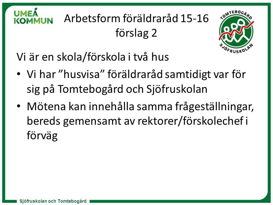 """Sjöfruskolan och Tomtebogård Arbetsform föräldraråd 15-16 förslag 2 Vi är en skola/förskola i två hus Vi har """"husvisa"""" föräldraråd samtidigt var för s"""