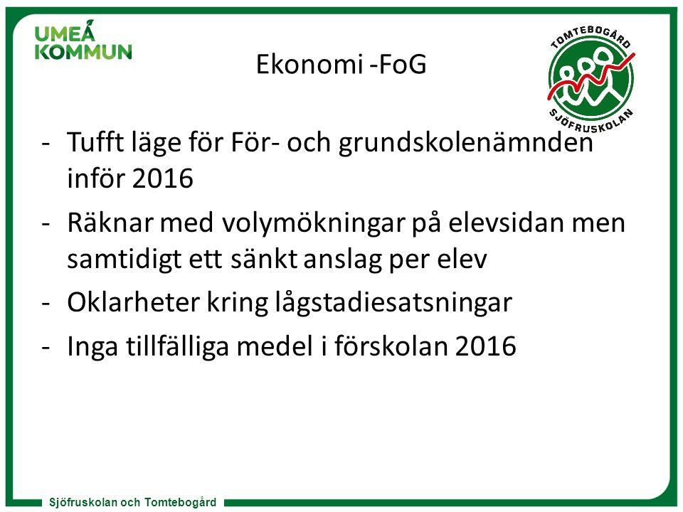 Sjöfruskolan och Tomtebogård Ekonomi -FoG -Tufft läge för För- och grundskolenämnden inför 2016 -Räknar med volymökningar på elevsidan men samtidigt e