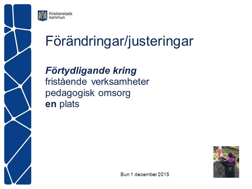 Förändringar/justeringar Förtydligande kring fristående verksamheter pedagogisk omsorg en plats Bun 1 december 2015