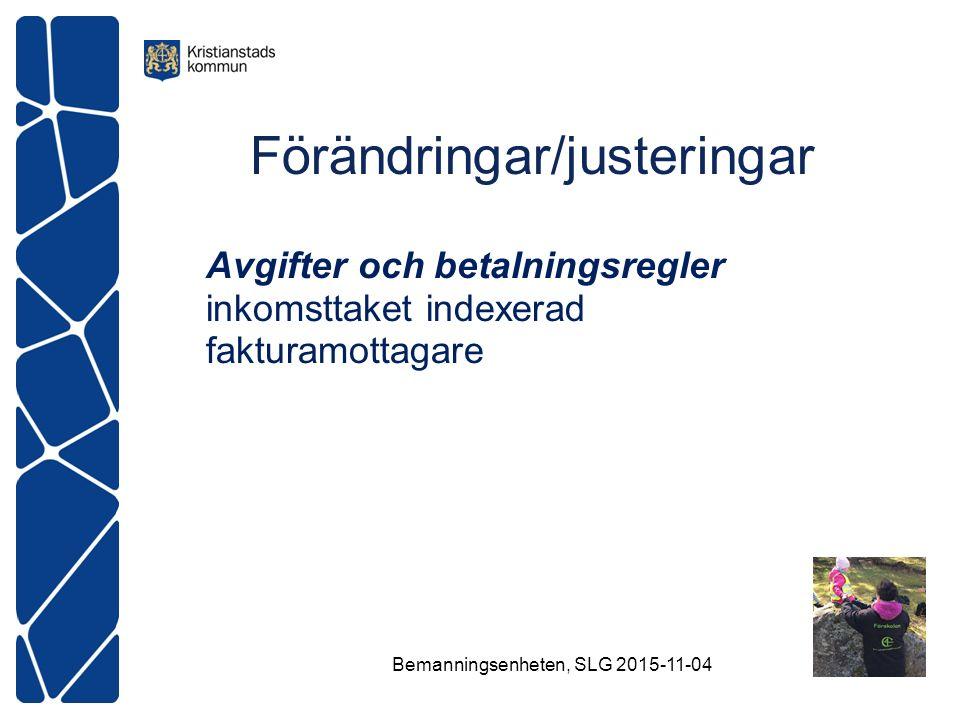 Förändringar/justeringar Avgifter och betalningsregler inkomsttaket indexerad fakturamottagare Bemanningsenheten, SLG 2015-11-04