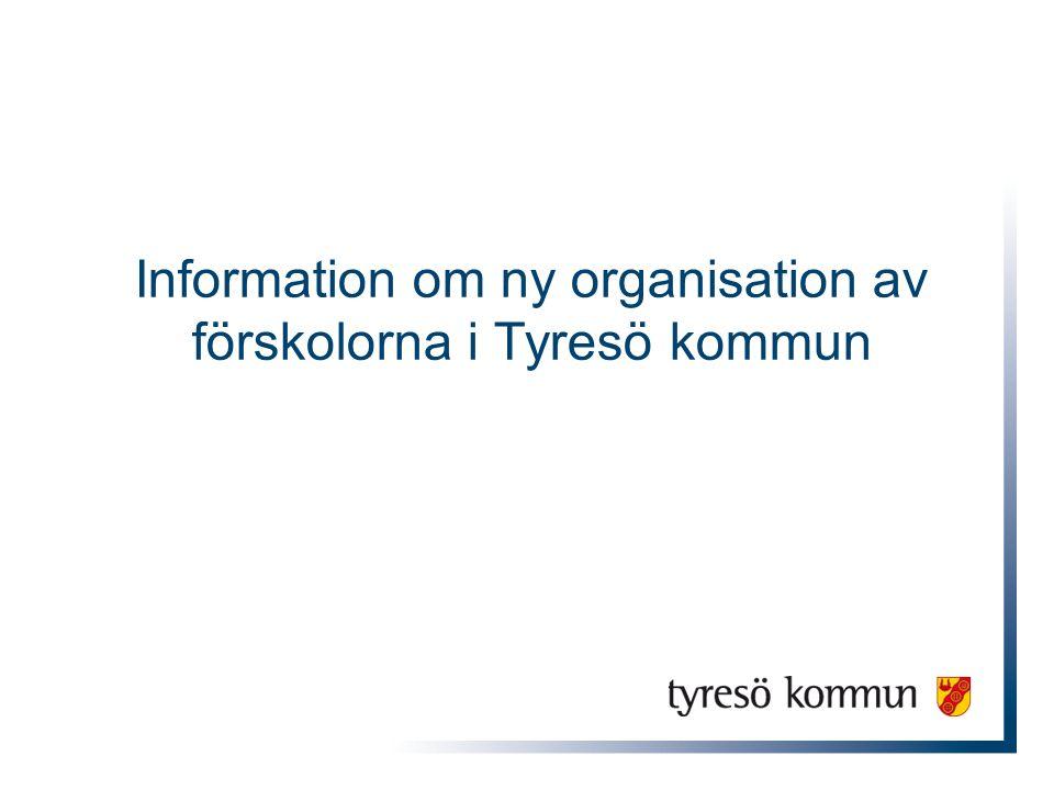 Förskolor i Tyresö kommun 22 förskolor i kommunal regi 16 fristående förskolor