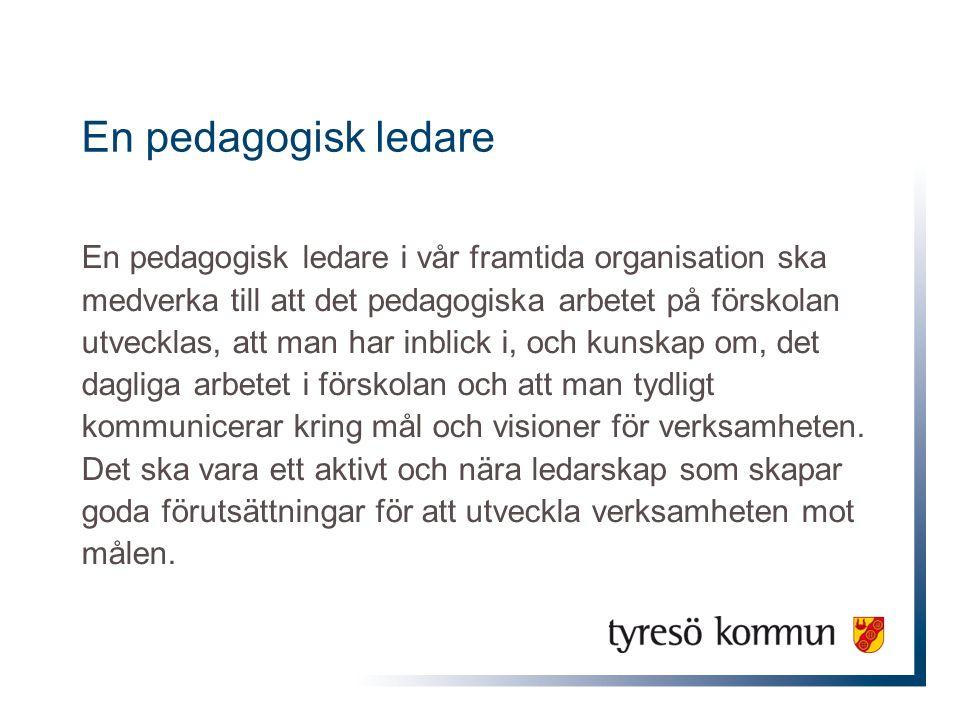 En pedagogisk ledare En pedagogisk ledare i vår framtida organisation ska medverka till att det pedagogiska arbetet på förskolan utvecklas, att man ha