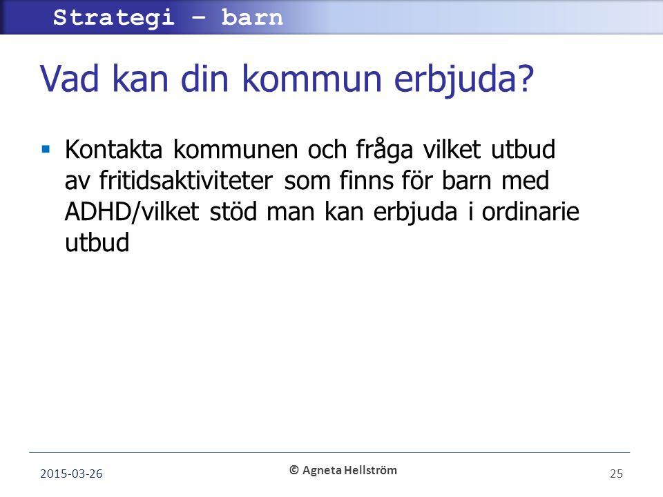 © Agneta Hellström Strategi – barn Vad kan din kommun erbjuda.