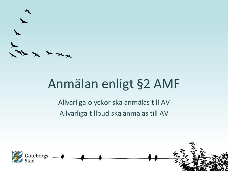 Anmälan enligt §2 AMF Allvarliga olyckor ska anmälas till AV Allvarliga tillbud ska anmälas till AV 44