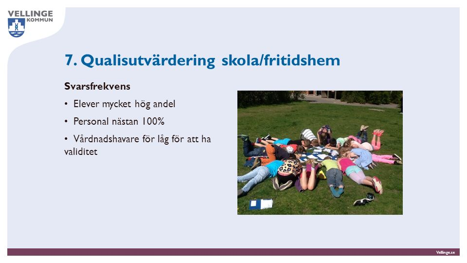 Vellinge.se Svarsfrekvens Elever mycket hög andel Personal nästan 100% Vårdnadshavare för låg för att ha validitet 7. Qualisutvärdering skola/fritidsh