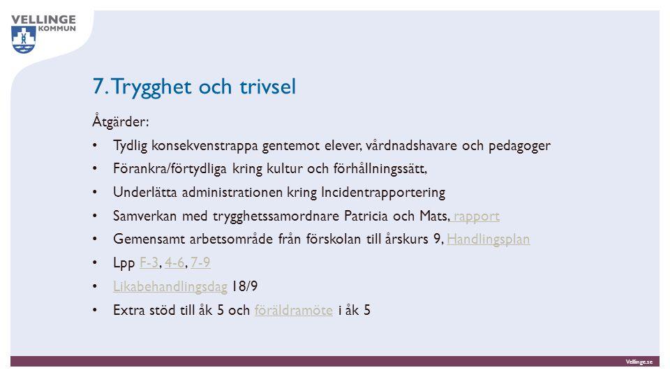 Vellinge.se 7. Trygghet och trivsel Åtgärder: Tydlig konsekvenstrappa gentemot elever, vårdnadshavare och pedagoger Förankra/förtydliga kring kultur o