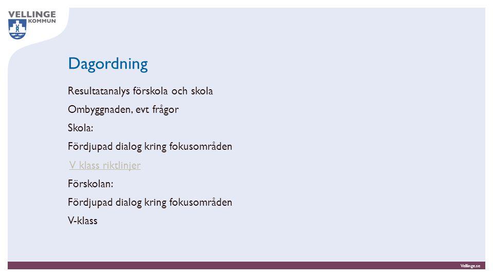 Vellinge.se Dagordning Resultatanalys förskola och skola Ombyggnaden, evt frågor Skola: Fördjupad dialog kring fokusområden V klass riktlinjer Förskol