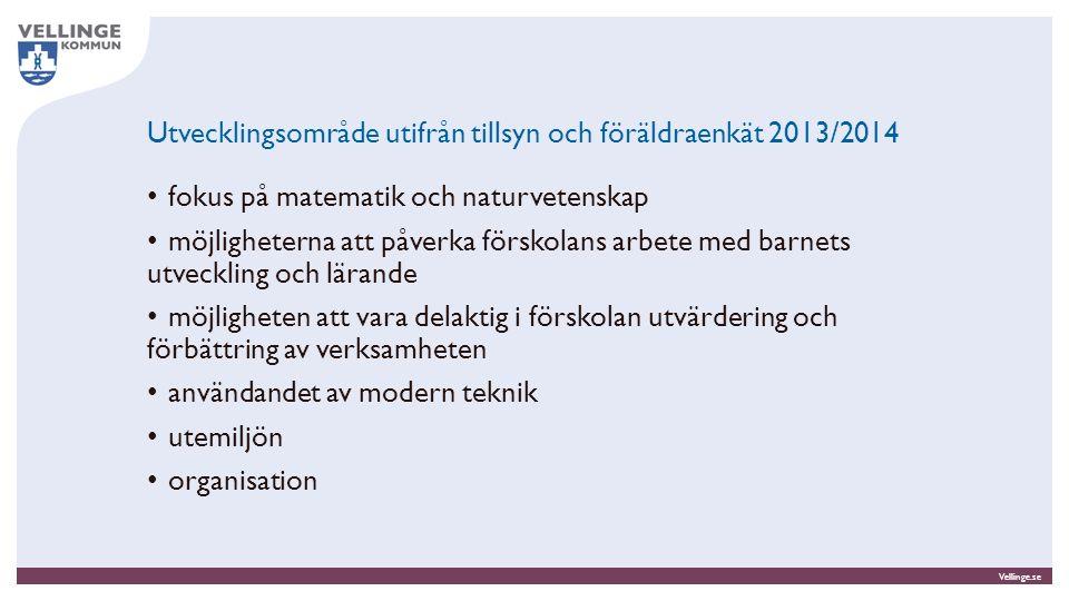 Vellinge.se Utvecklingsområde utifrån tillsyn och föräldraenkät 2013/2014 fokus på matematik och naturvetenskap möjligheterna att påverka förskolans a