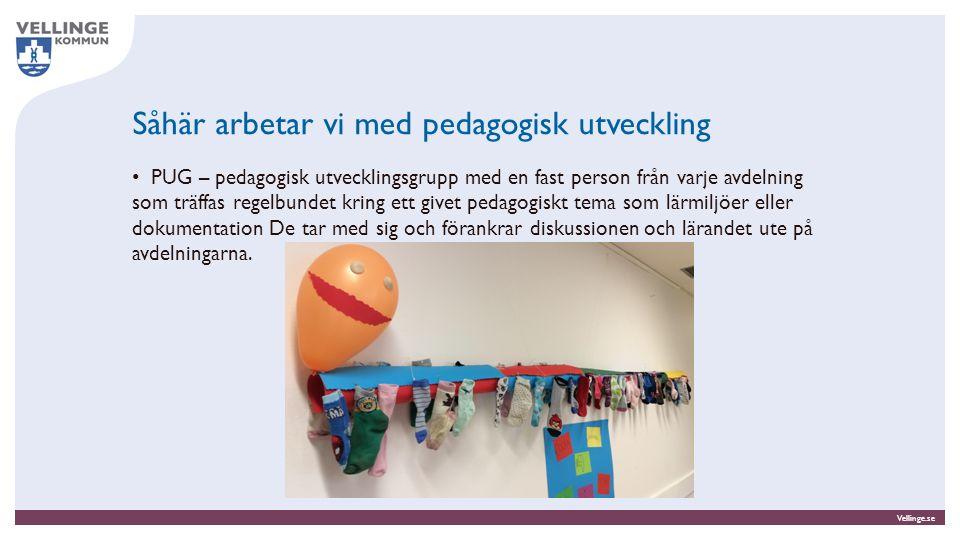 Vellinge.se Såhär arbetar vi med pedagogisk utveckling PUG – pedagogisk utvecklingsgrupp med en fast person från varje avdelning som träffas regelbund