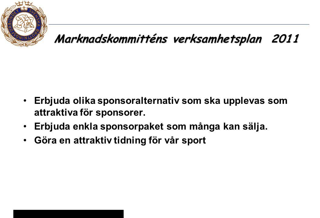 12 © Svenska Brottningsförbundet 2005 Marknadskommitténs verksamhetsplan 2011 Erbjuda olika sponsoralternativ som ska upplevas som attraktiva för sponsorer.