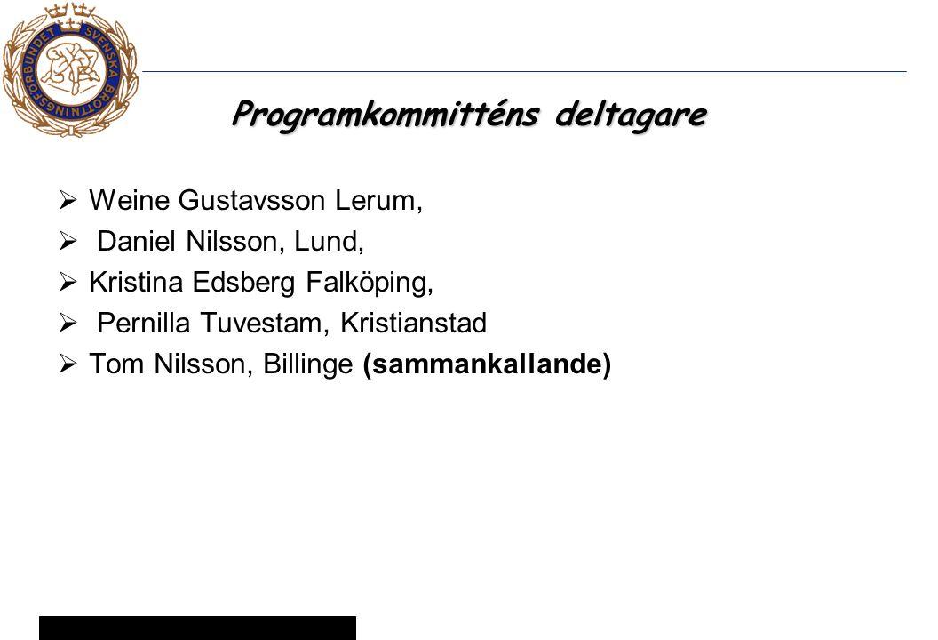 14 © Svenska Brottningsförbundet 2005 Programkommitténs deltagare  Weine Gustavsson Lerum,  Daniel Nilsson, Lund,  Kristina Edsberg Falköping,  Pernilla Tuvestam, Kristianstad  Tom Nilsson, Billinge (sammankallande)