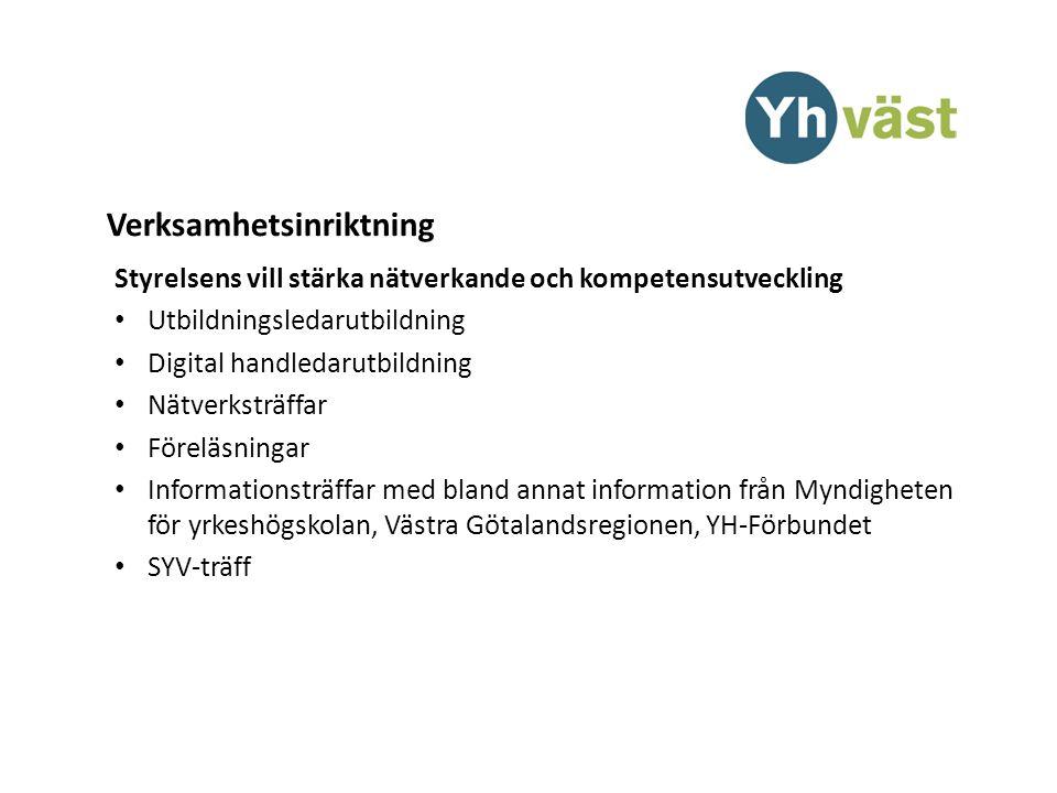 Verksamhetsinriktning Styrelsens vill stärka nätverkande och kompetensutveckling Utbildningsledarutbildning Digital handledarutbildning Nätverksträffar Föreläsningar Informationsträffar med bland annat information från Myndigheten för yrkeshögskolan, Västra Götalandsregionen, YH-Förbundet SYV-träff