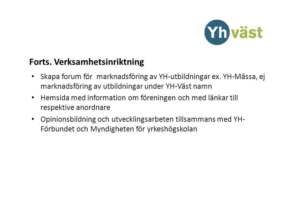 Forts. Verksamhetsinriktning Skapa forum för marknadsföring av YH-utbildningar ex.