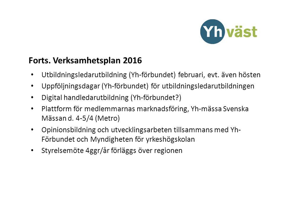 Forts. Verksamhetsplan 2016 Utbildningsledarutbildning (Yh-förbundet) februari, evt.