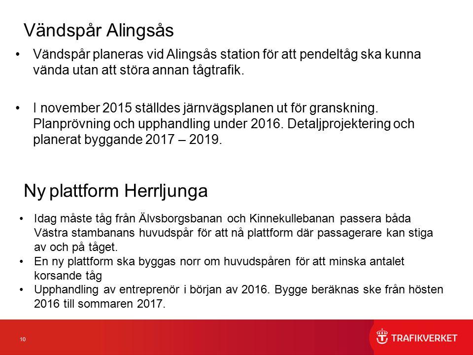 10 Vändspår Alingsås Vändspår planeras vid Alingsås station för att pendeltåg ska kunna vända utan att störa annan tågtrafik. I november 2015 ställdes