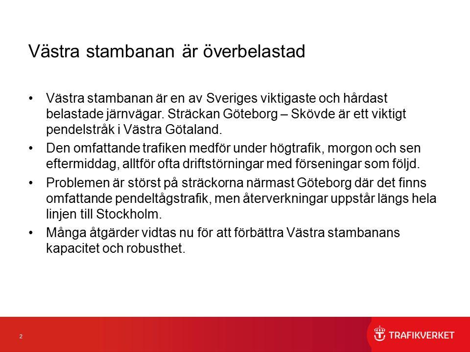 2 Västra stambanan är överbelastad Västra stambanan är en av Sveriges viktigaste och hårdast belastade järnvägar. Sträckan Göteborg – Skövde är ett vi