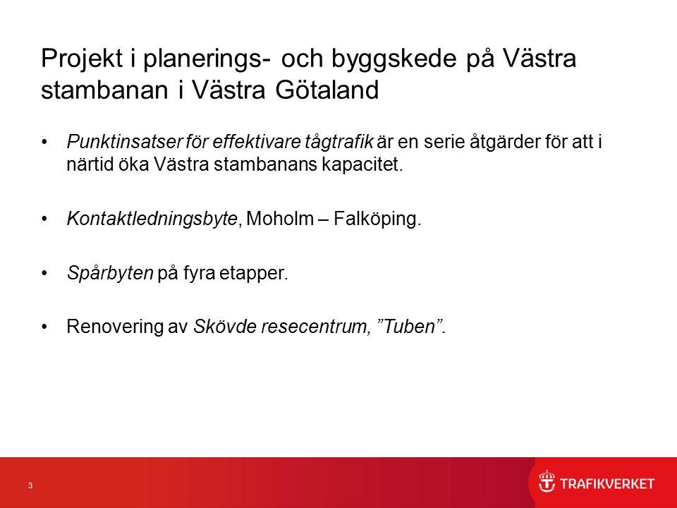 3 Projekt i planerings- och byggskede på Västra stambanan i Västra Götaland Punktinsatser för effektivare tågtrafik är en serie åtgärder för att i närtid öka Västra stambanans kapacitet.