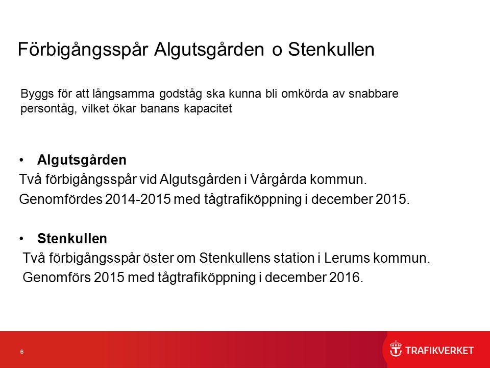 7 Förbigångsspår Falköping Ett förbigångsspår i vardera riktningen utanför huvudspår på en begränsad sträcka inom Falköpings kommun.
