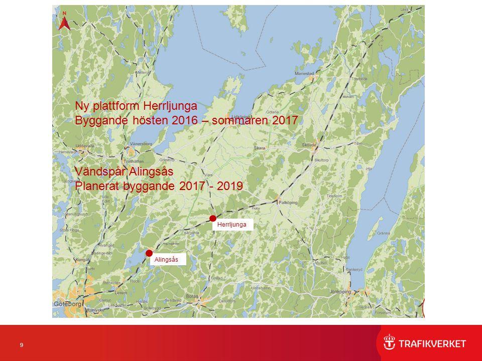 9 Ny rubbe Vändspår Alingsås Planerat byggande 2017 - 2019 Alingsås Ny plattform Herrljunga Byggande hösten 2016 – sommaren 2017 Herrljunga