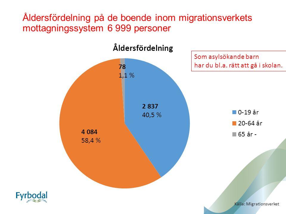 Åldersfördelning på de boende inom migrationsverkets mottagningssystem 6 999 personer 2 837 40,5 % 4 084 58,4 % 78 1,1 % Källa: Migrationsverket Som asylsökande barn har du bl.a.