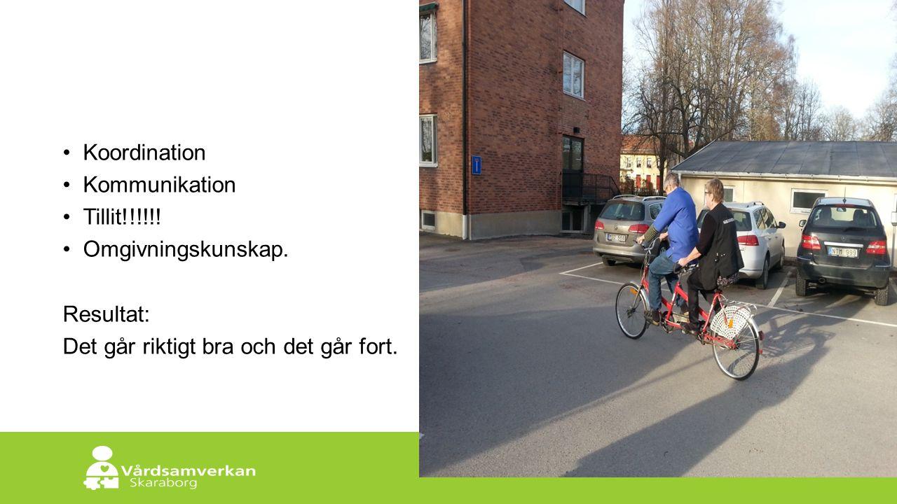 Skaraborgs Sjukhus Koordination Kommunikation Tillit!!!!!! Omgivningskunskap. Resultat: Det går riktigt bra och det går fort.