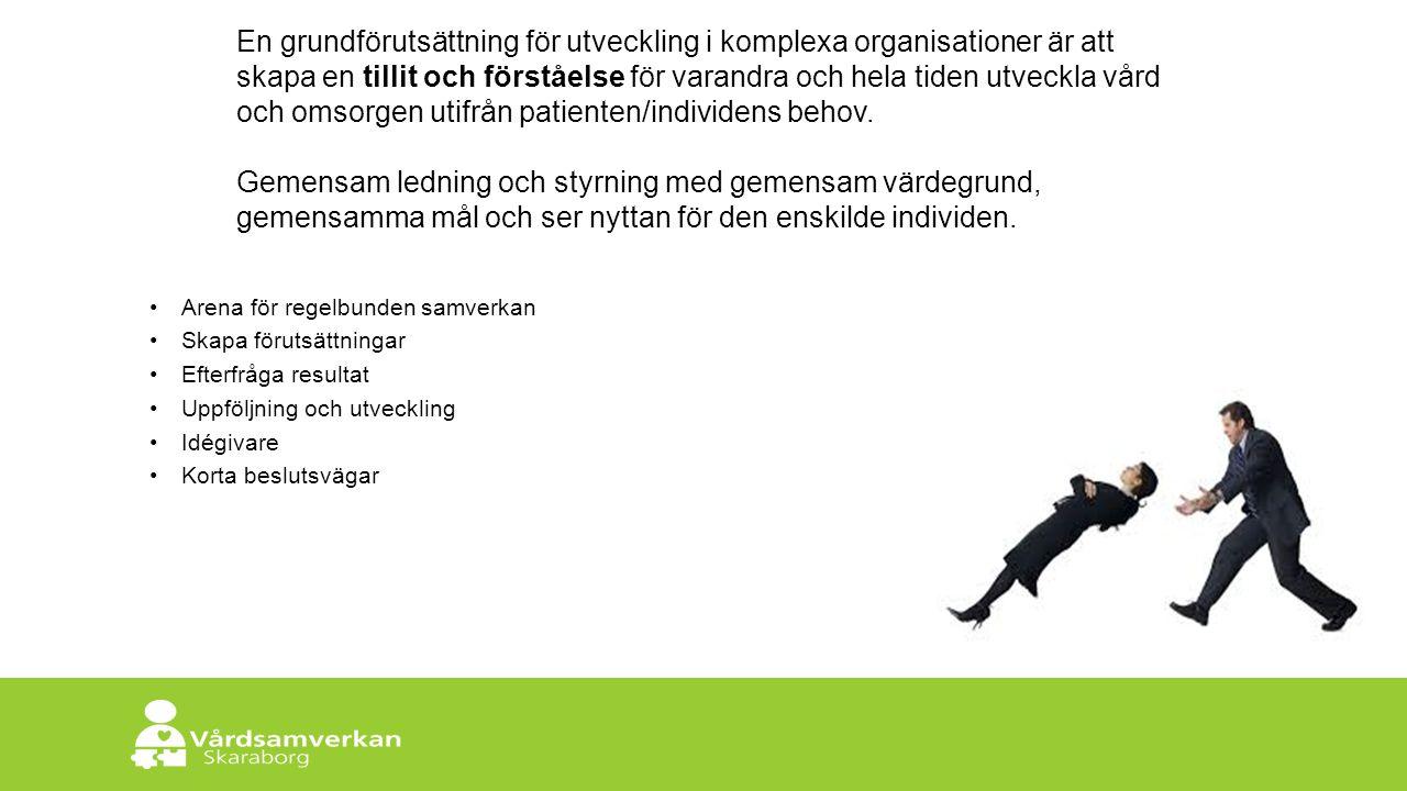 Skaraborgs Sjukhus En grundförutsättning för utveckling i komplexa organisationer är att skapa en tillit och förståelse för varandra och hela tiden utveckla vård och omsorgen utifrån patienten/individens behov.
