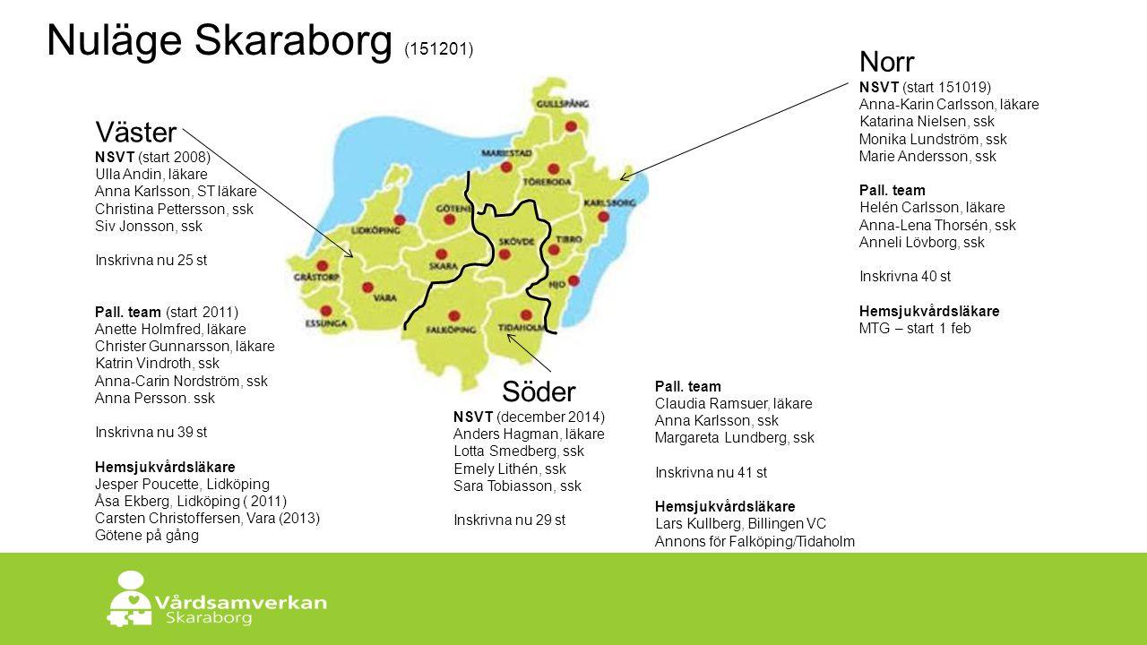 Skaraborgs Sjukhus Väster NSVT (start 2008) Ulla Andin, läkare Anna Karlsson, ST läkare Christina Pettersson, ssk Siv Jonsson, ssk Inskrivna nu 25 st Pall.