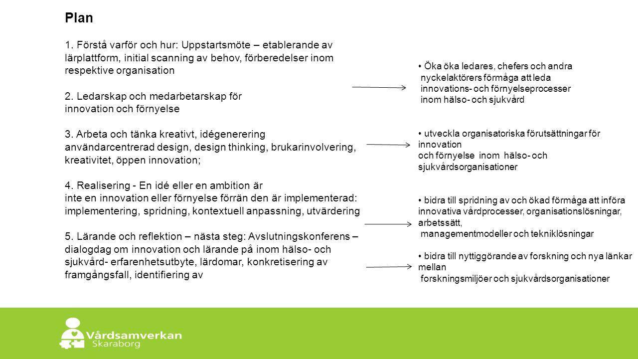 Skaraborgs Sjukhus Plan 1. Förstå varför och hur: Uppstartsmöte – etablerande av lärplattform, initial scanning av behov, förberedelser inom respektiv