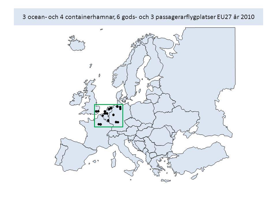 3 ocean- och 4 containerhamnar, 6 gods- och 3 passagerarflygplatser EU27 år 2010