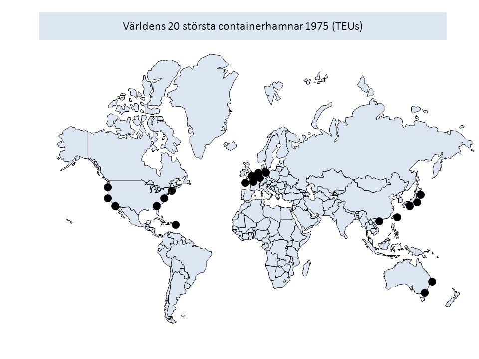 Världens 20 största containerhamnar 1975 (TEUs)