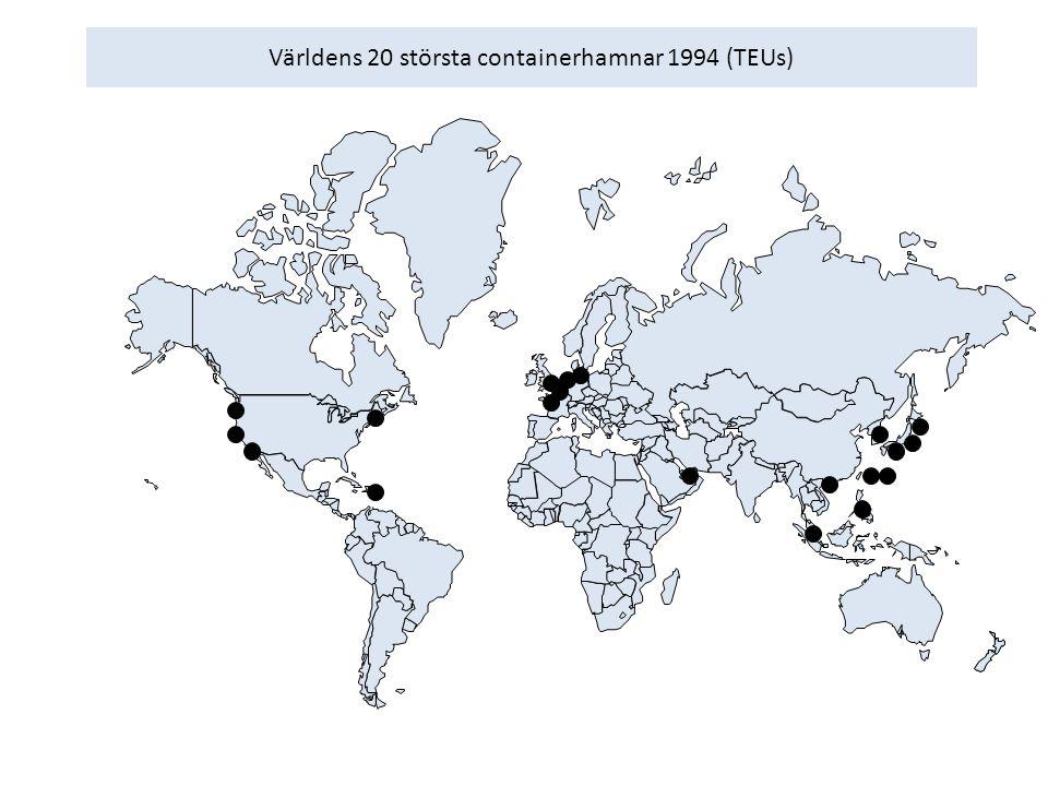 Världens 20 största containerhamnar 1994 (TEUs)