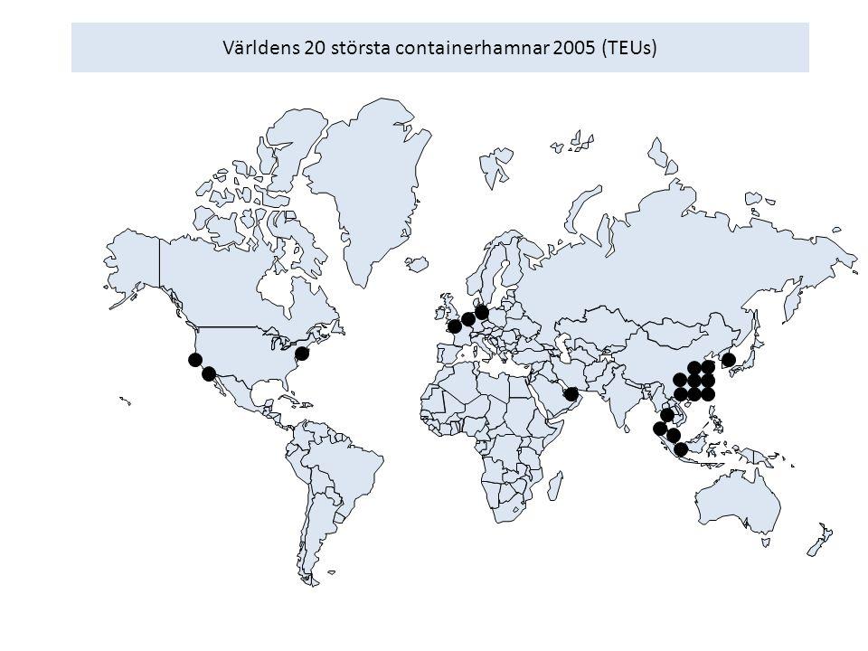Världens 20 största containerhamnar 2005 (TEUs)