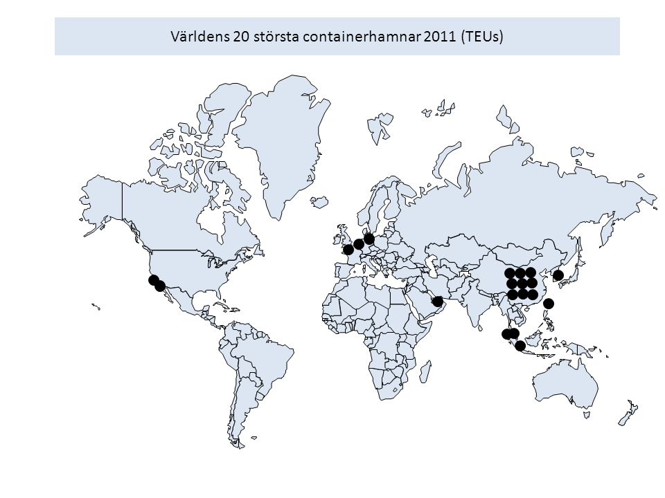 Världens 20 största containerhamnar 2011 (TEUs)