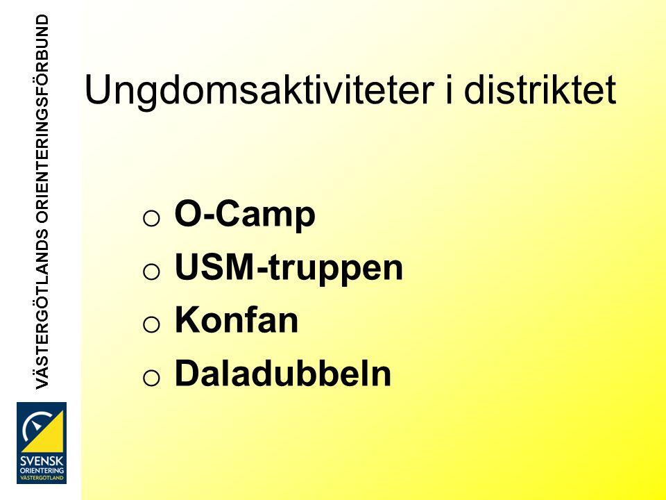 VÄSTERGÖTLANDS ORIENTERINGSFÖRBUND Ungdomsaktiviteter i distriktet o O-Camp o USM-truppen o Konfan o Daladubbeln