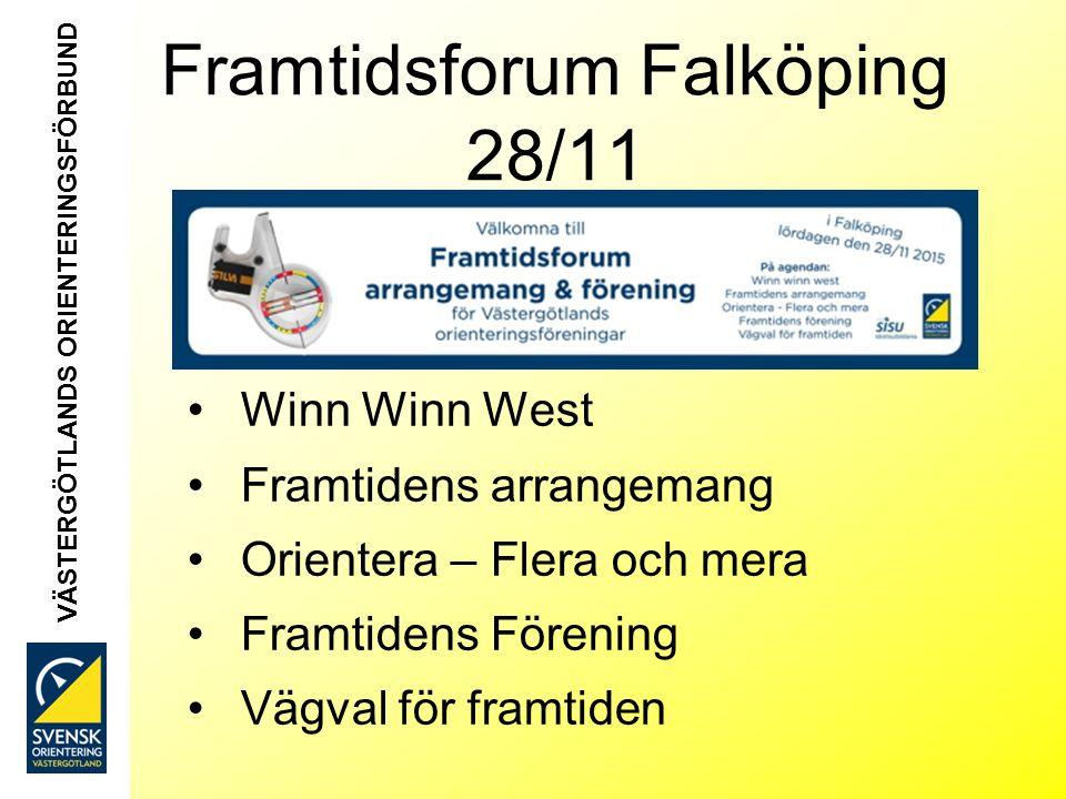 Framtidsforum Falköping 28/11 Winn Winn West Framtidens arrangemang Orientera – Flera och mera Framtidens Förening Vägval för framtiden VÄSTERGÖTLANDS ORIENTERINGSFÖRBUND