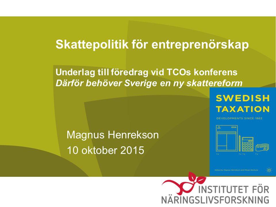 Slutsatser Efterfrågan på riskkapital från riskvilliga entreprenörer den trånga sektorn –Inte brist på riskkapital Gäller att skapa förutsättningar för det riskvilliga kapitalet att möta och kunna sluta effektiva avtal med entreprenörer och andra bärare av nyckelkompetenser Optioner central komponent som inte kan användas i Sverige av skatteskäl Fungerar väldigt bra i utköpssektorn
