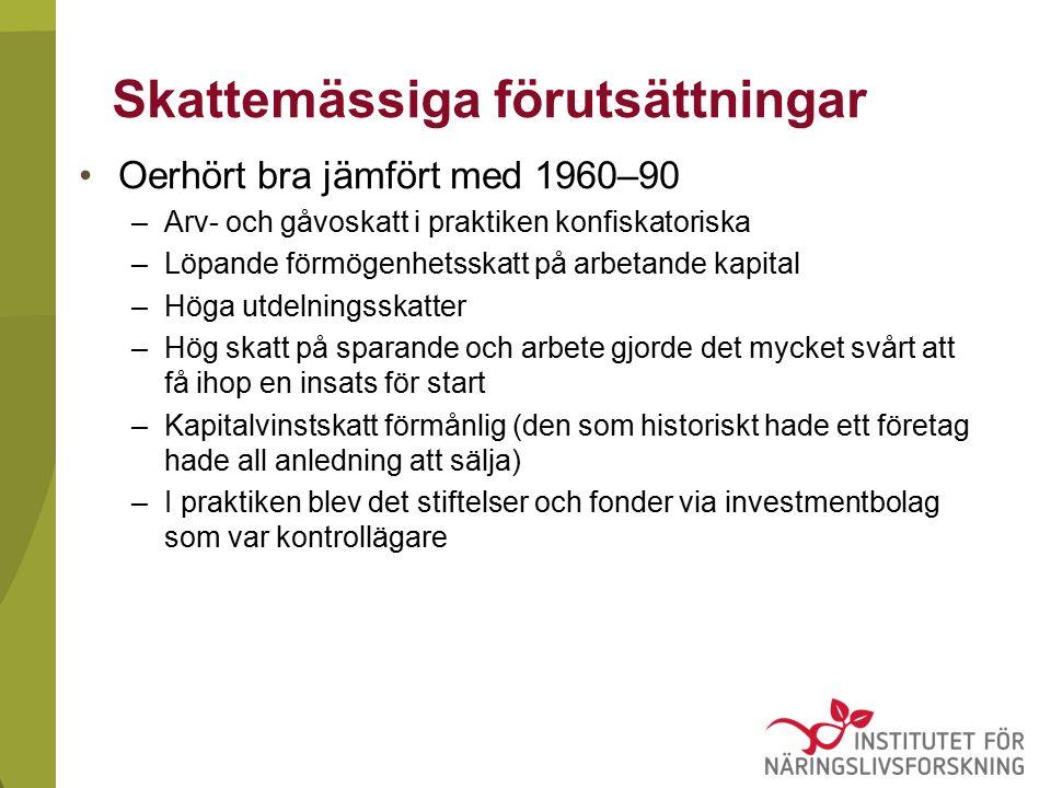 Skattemässiga förutsättningar Oerhört bra jämfört med 1960–90 –Arv- och gåvoskatt i praktiken konfiskatoriska –Löpande förmögenhetsskatt på arbetande kapital –Höga utdelningsskatter –Hög skatt på sparande och arbete gjorde det mycket svårt att få ihop en insats för start –Kapitalvinstskatt förmånlig (den som historiskt hade ett företag hade all anledning att sälja) –I praktiken blev det stiftelser och fonder via investmentbolag som var kontrollägare
