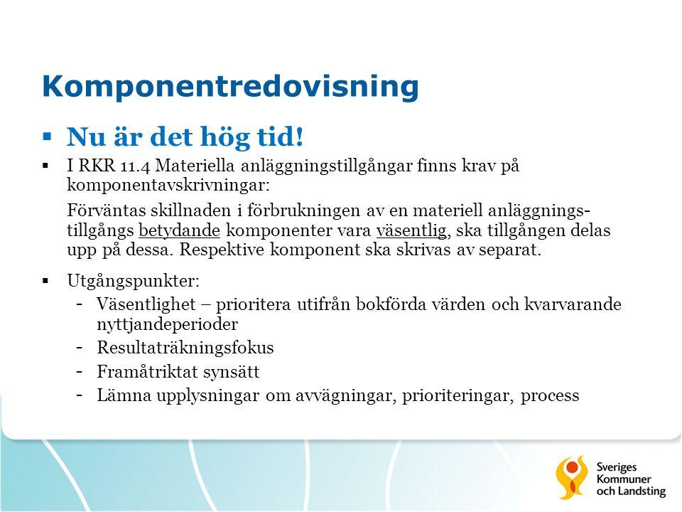 Komponentredovisning  Nu är det hög tid!  I RKR 11.4 Materiella anläggningstillgångar finns krav på komponentavskrivningar: Förväntas skillnaden i f