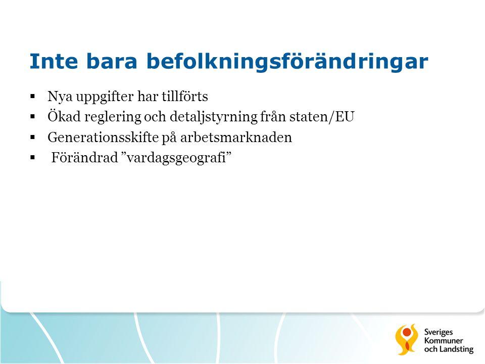 Inte bara befolkningsförändringar  Nya uppgifter har tillförts  Ökad reglering och detaljstyrning från staten/EU  Generationsskifte på arbetsmarkna