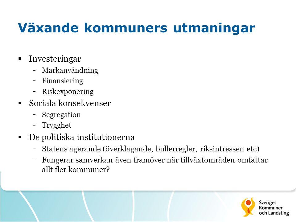 Växande kommuners utmaningar  Investeringar - Markanvändning - Finansiering - Riskexponering  Sociala konsekvenser - Segregation - Trygghet  De pol